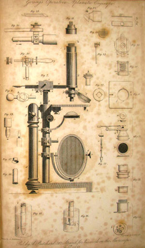 C.R. Goring's Operative Aplanatic Engiscope, from Microscopic illustrations. Click on an image to enlarge
