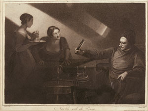 An imaginary, romanticised scene of Newton executing a prism experiment with two female onlookers. Reproduced from Whipple Museum Wh.3965. Black and white engraving by Meadows after painting by George Romney (1734–1802). Image © The Whipple Museum.
