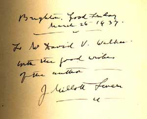 Dedication by Severn in the Whipple Library's copy of his autobiography