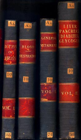 Spines from the Foster Collection, showing binding style and volume title