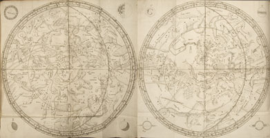 Of The two Hemispheres of the Stars. Two folded plates showing the constellations of the northern and southern hemispheres