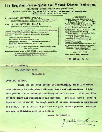Letter from J. Millott Severn to David Walker