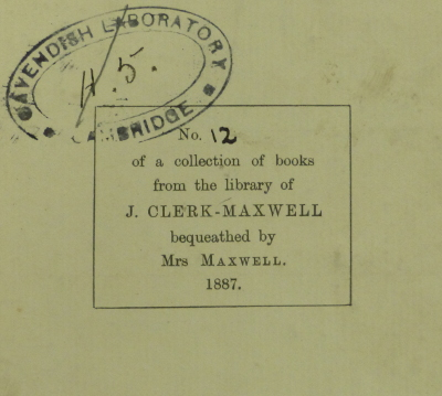 Marcet Chemistry Maxwell bookplate
