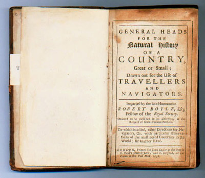 drawn out for the use of travellers and navigators / Robert Boyle (London: printed for John Taylor ... and S. Holford, 1692) STORE D:25