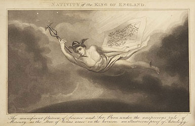 Plate showing Mercury carrying the horoscope of King George IV, who was the reigning monarch at the time of the book's publication