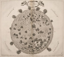 Of the Sun. Plate showing a volcanic looking sun with various features including sun spots and solar winds
