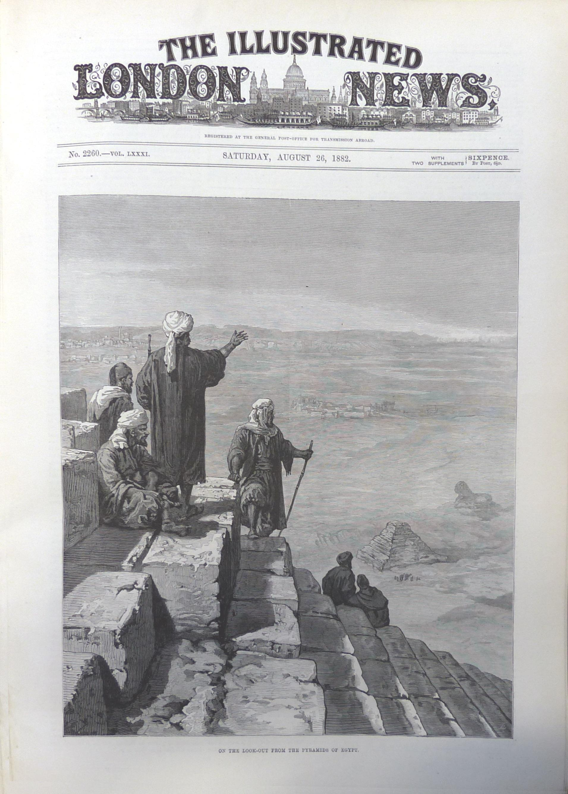 'On the look-out from the pyramids of Egypt'. The Illustrated London News vol. 81, no. 2260, 26 August 1882, p. 213. CUL NPR.c.313.