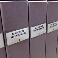 """Row of archival boxes labelled """"Buchdahl manuscripts"""""""