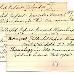 4 handwritten index cards in a stack