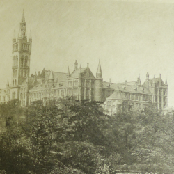 Glasgow University viewed from across the river Kelvin (black and white)
