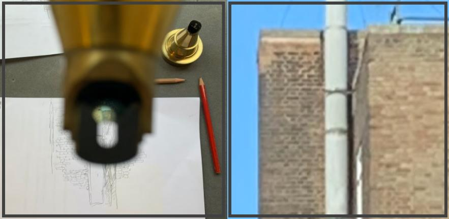 Drawing using the viewfinder of the graphic telescope, and photograph of the segment of the building being drawn
