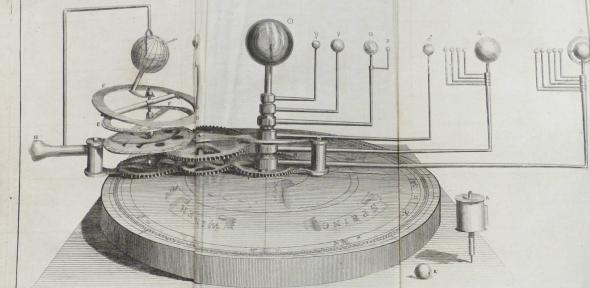 Page folded out three times to display 'the new portable orrery, invented and made by William Jones'