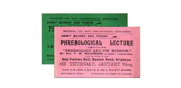 A pink and a green ticket to a phrenological lecture